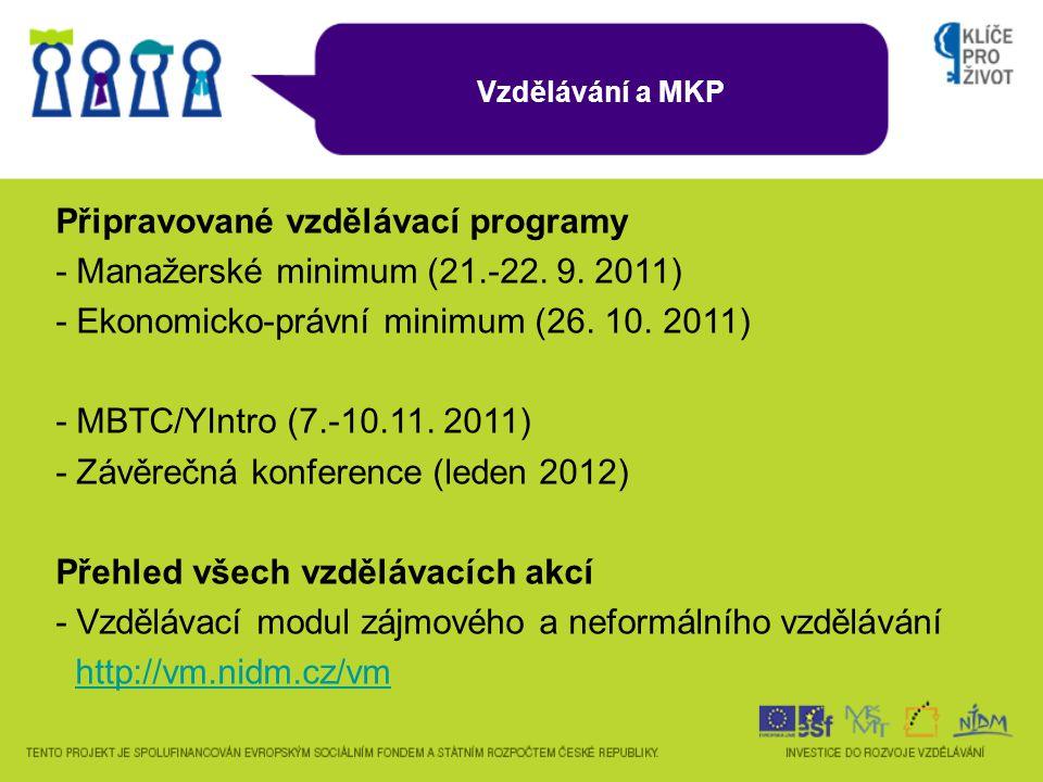 Vzdělávání a MKP Připravované vzdělávací programy - Manažerské minimum (21.-22.