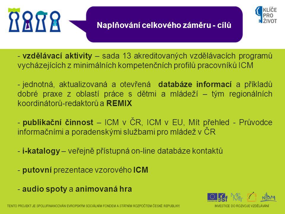 Naplňování celkového záměru - cílů - vzdělávací aktivity – sada 13 akreditovaných vzdělávacích programů vycházejících z minimálních kompetenčních profilů pracovníků ICM - jednotná, aktualizovaná a otevřená databáze informací a příkladů dobré praxe z oblastí práce s dětmi a mládeží – tým regionálních koordinátorů-redaktorů a REMIX - publikační činnost – ICM v ČR, ICM v EU, Mít přehled - Průvodce informačními a poradenskými službami pro mládež v ČR - i-katalogy – veřejně přístupná on-line databáze kontaktů - putovní prezentace vzorového ICM - audio spoty a animovaná hra