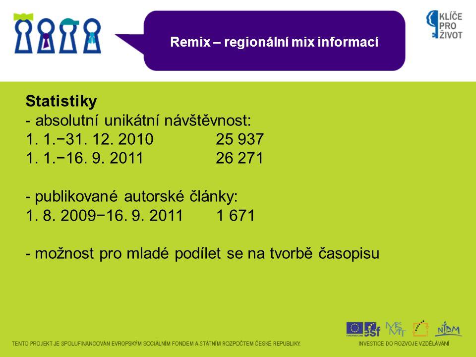 Remix – regionální mix informací Statistiky - absolutní unikátní návštěvnost: 1.