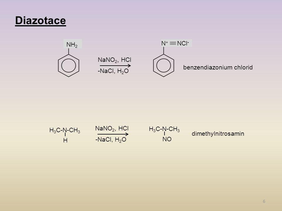 6 Diazotace NH 2 NaNO 2, HCl -NaCl, H 2 O N + NCl - H 3 C-N-CH 3 H NaNO 2, HCl -NaCl, H 2 O H 3 C-N-CH 3 NO benzendiazonium chlorid dimethylnitrosamin