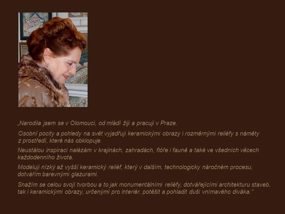 narozena v Olomouci absolvovala Vysokou školu uměleckoprůmyslovou v Praze Je členka Mezinárodní keramické akademie AIC v Ženevě Měla přes 70 autorských výstav, účastní se společných výstav a má mnohá ocenění z domova i ze světa.