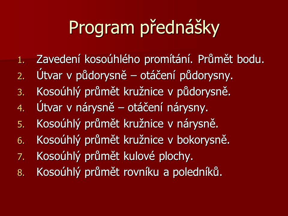 Program přednášky 1.Zavedení kosoúhlého promítání.