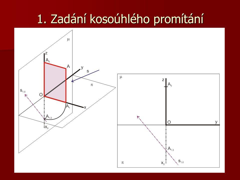1. Kosoúhlý průmět bodu A