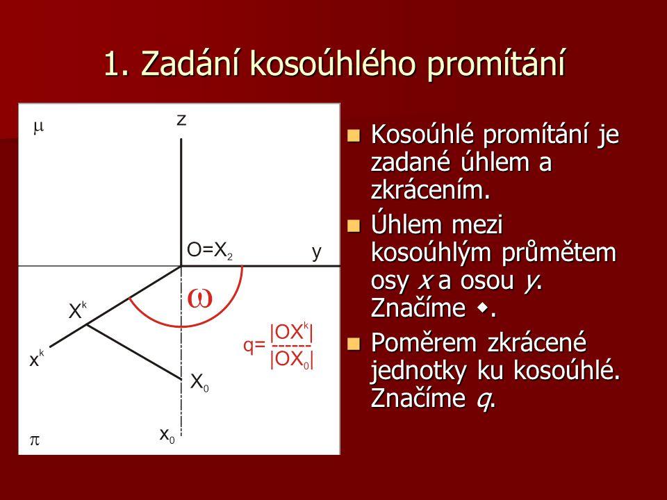 1.Zadání kosoúhlého promítání Kosoúhlé promítání je zadané úhlem a zkrácením.