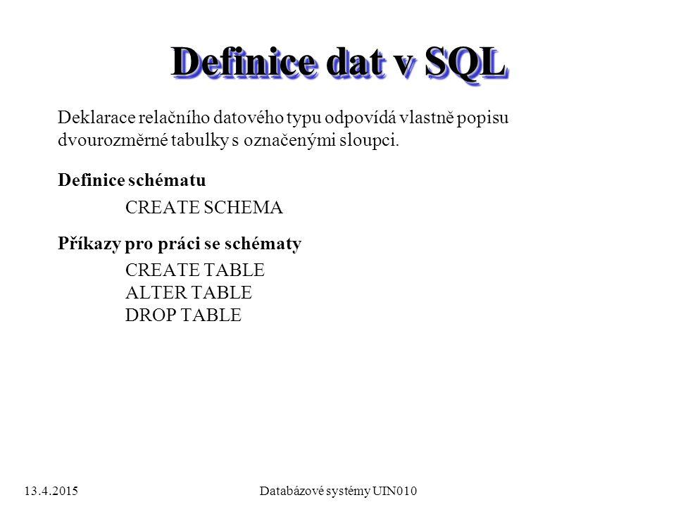 13.4.2015Databázové systémy UIN010 Definice dat v SQL Deklarace relačního datového typu odpovídá vlastně popisu dvourozměrné tabulky s označenými sloupci.