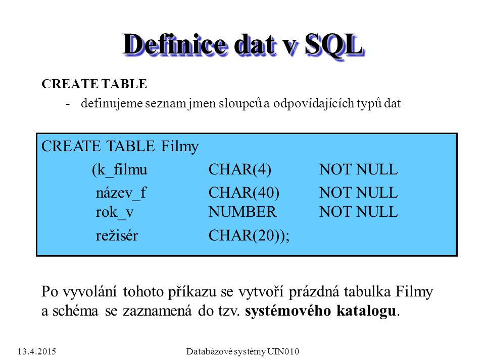 13.4.2015Databázové systémy UIN010 Definice dat v SQL CREATE TABLE -definujeme seznam jmen sloupců a odpovídajících typů dat CREATE TABLE Filmy (k_filmuCHAR(4)NOT NULL název_f CHAR(40)NOT NULL rok_vNUMBERNOT NULL režisérCHAR(20)); Po vyvolání tohoto příkazu se vytvoří prázdná tabulka Filmy a schéma se zaznamená do tzv.