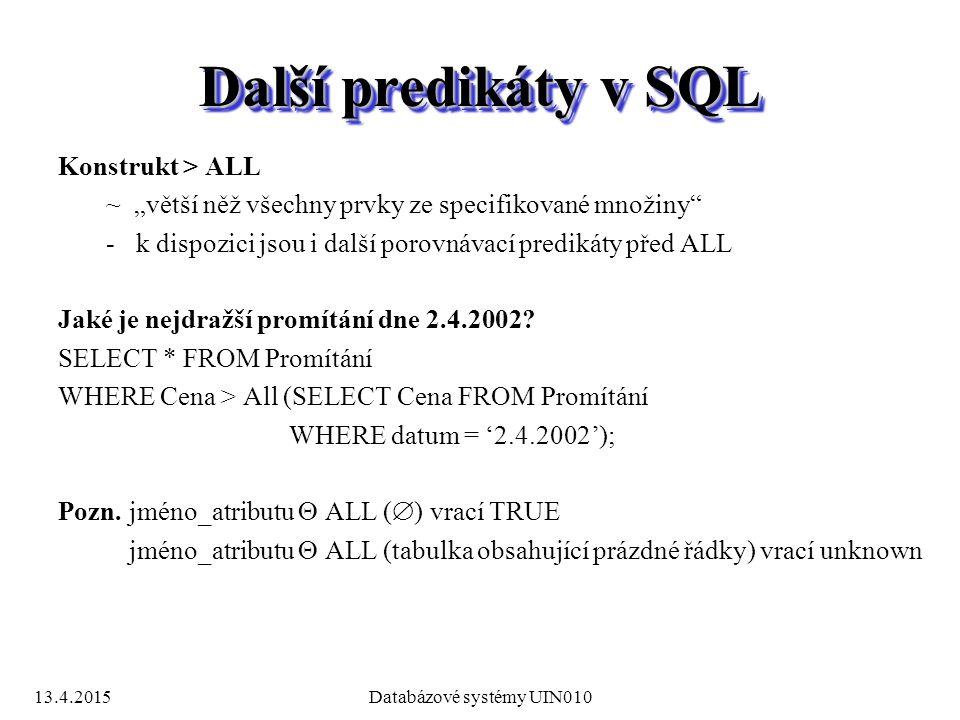 """13.4.2015Databázové systémy UIN010 Další predikáty v SQL Konstrukt > ALL ~ """"větší něž všechny prvky ze specifikované množiny -k dispozici jsou i další porovnávací predikáty před ALL Jaké je nejdražší promítání dne 2.4.2002."""
