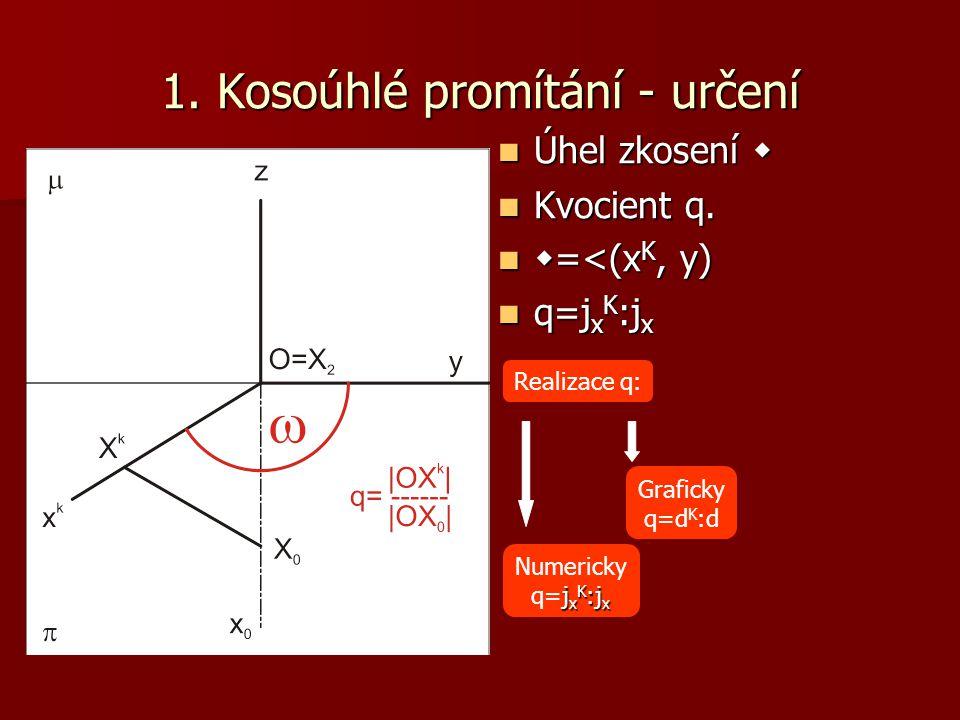 1.Bod Narýsujte kosoúhlý průmět bodu A a doplňte všechny průměty.