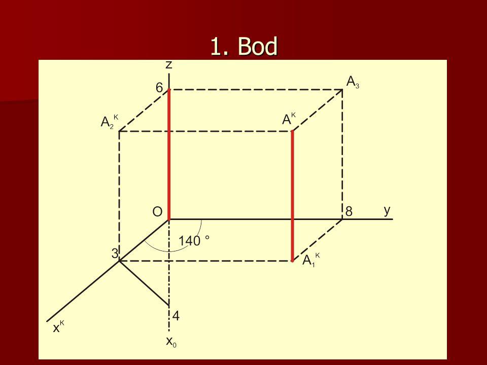 1.Přímka Narýsujte kosoúhlý průmět přímky p=AB a doplňte všechny průměty.