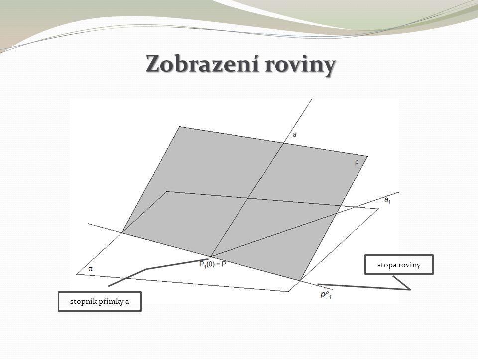 Zobrazení roviny stopník přímky a stopa roviny