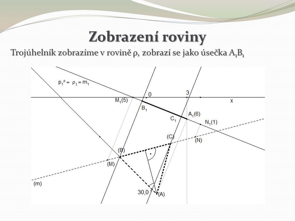 Zobrazení roviny Trojúhelník zobrazíme v rovině ρ, zobrazí se jako úsečka A 1 B 1