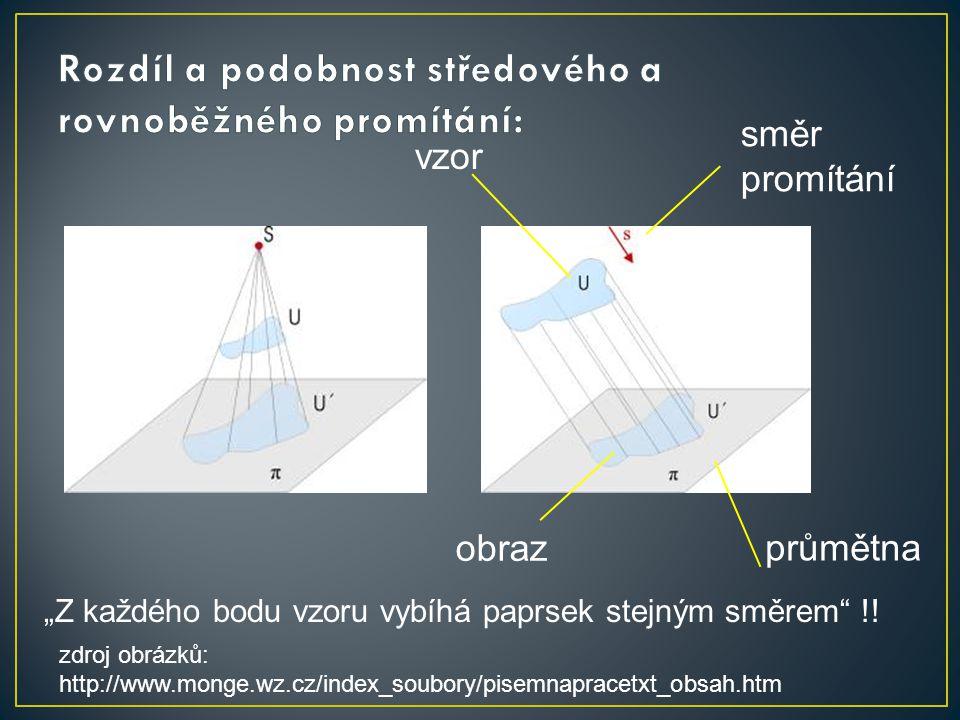 """zdroj obrázků: http://www.monge.wz.cz/index_soubory/pisemnapracetxt_obsah.htm směr promítání průmětna vzor obraz """"Z každého bodu vzoru vybíhá paprsek"""