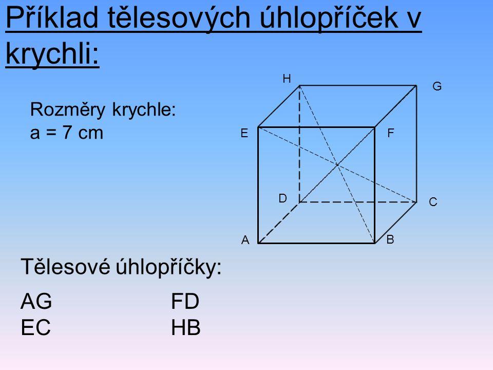 Příklad tělesových úhlopříček v krychli: Tělesové úhlopříčky: AG EC FD HB Rozměry krychle: a = 7 cm FE B A H G C D