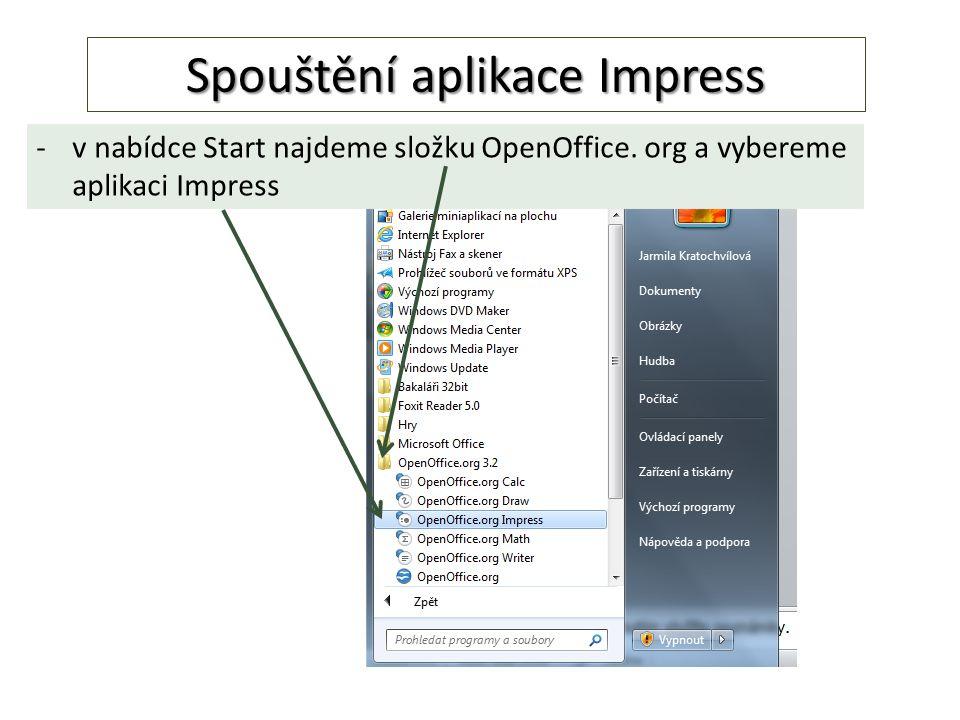 Spouštění aplikace Impress -v nabídce Start najdeme složku OpenOffice. org a vybereme aplikaci Impress