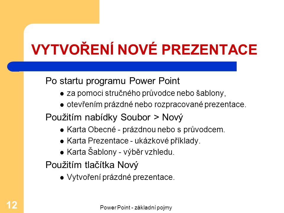 Power Point - základní pojmy 12 VYTVOŘENÍ NOVÉ PREZENTACE Po startu programu Power Point za pomoci stručného průvodce nebo šablony, otevřením prázdné