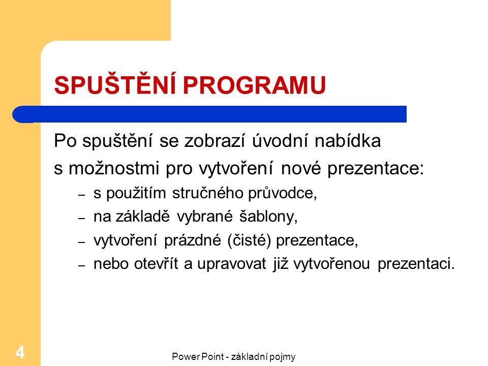 Power Point - základní pojmy 4 SPUŠTĚNÍ PROGRAMU Po spuštění se zobrazí úvodní nabídka s možnostmi pro vytvoření nové prezentace: – s použitím stručné