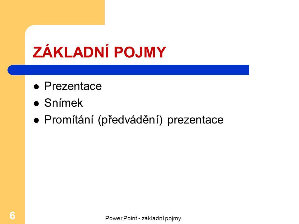 Power Point - základní pojmy 6 ZÁKLADNÍ POJMY Prezentace Snímek Promítání (předvádění) prezentace