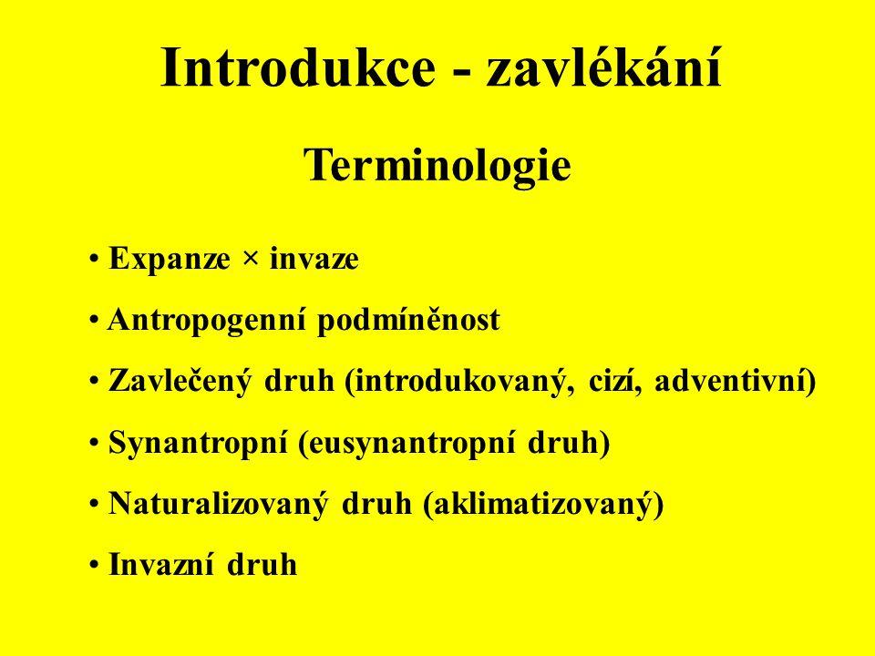 Terminologie Expanze × invaze Antropogenní podmíněnost Zavlečený druh (introdukovaný, cizí, adventivní) Synantropní (eusynantropní druh) Naturalizovan