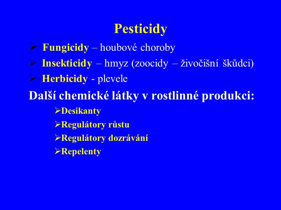 Pesticidy  Fungicidy – houbové choroby  Insekticidy – hmyz (zoocidy – živočišní škůdci)  Herbicidy - plevele Další chemické látky v rostlinné produkci:  Desikanty  Regulátory růstu  Regulátory dozrávání  Repelenty