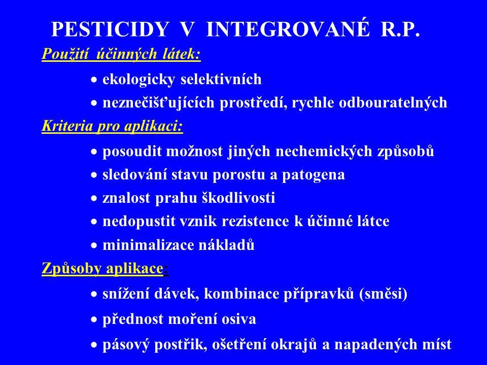 Herbicidy a jejich využití Neselektivní ničí veškerou vegetaci (cesty, chodníky) Selektivní - působí na konkrétní plevelné druhy kontaktní (dotykové) systémové (účinek zpravidla přes listy) kombinované Doba aplikace - preemergentní, postemergentní, po sklizni, před vegetací Rezidua - v produktu, v půdě