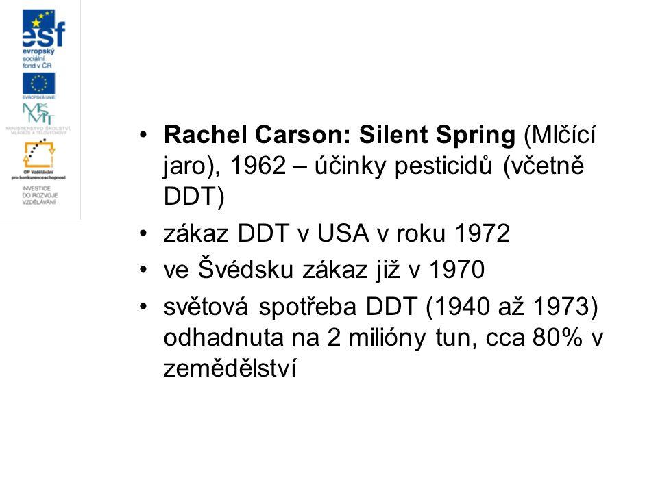Rachel Carson: Silent Spring (Mlčící jaro), 1962 – účinky pesticidů (včetně DDT) zákaz DDT v USA v roku 1972 ve Švédsku zákaz již v 1970 světová spotř