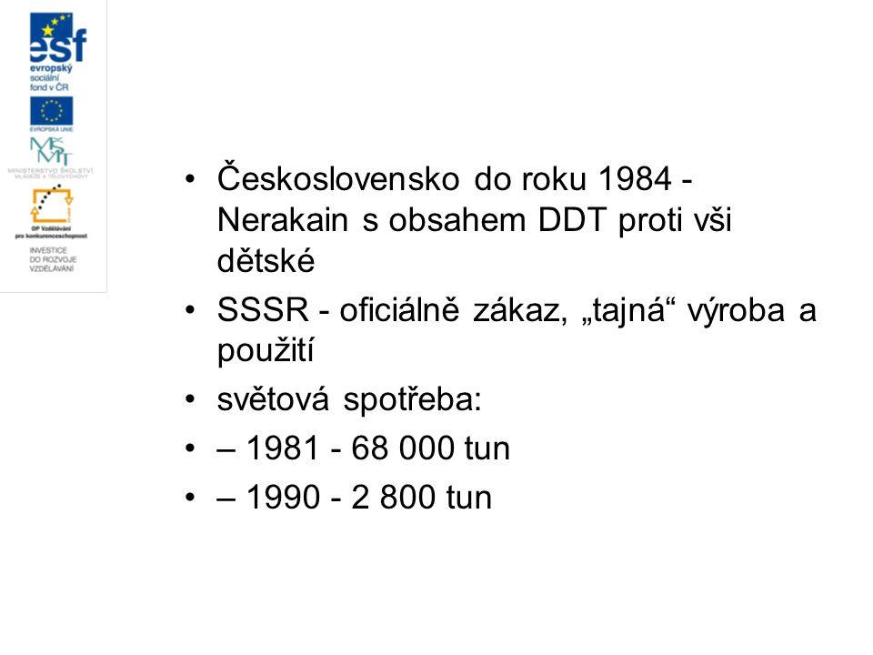 """Československo do roku 1984 - Nerakain s obsahem DDT proti vši dětské SSSR - oficiálně zákaz, """"tajná"""" výroba a použití světová spotřeba: – 1981 - 68 0"""