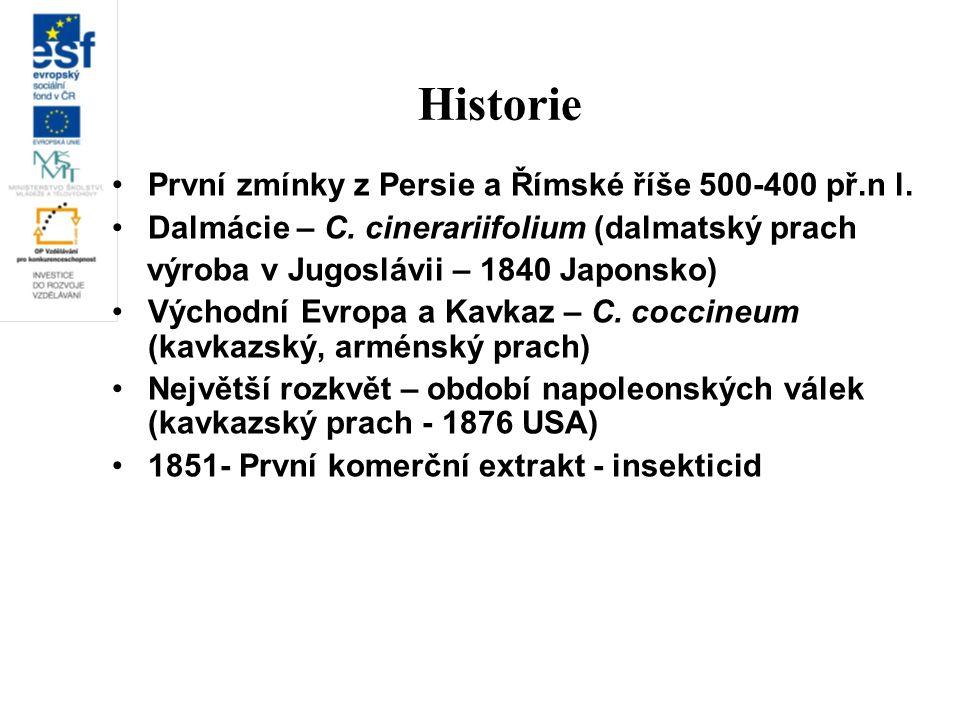 Historie První zmínky z Persie a Římské říše 500-400 př.n l. Dalmácie – C. cinerariifolium (dalmatský prach výroba v Jugoslávii – 1840 Japonsko) Výcho