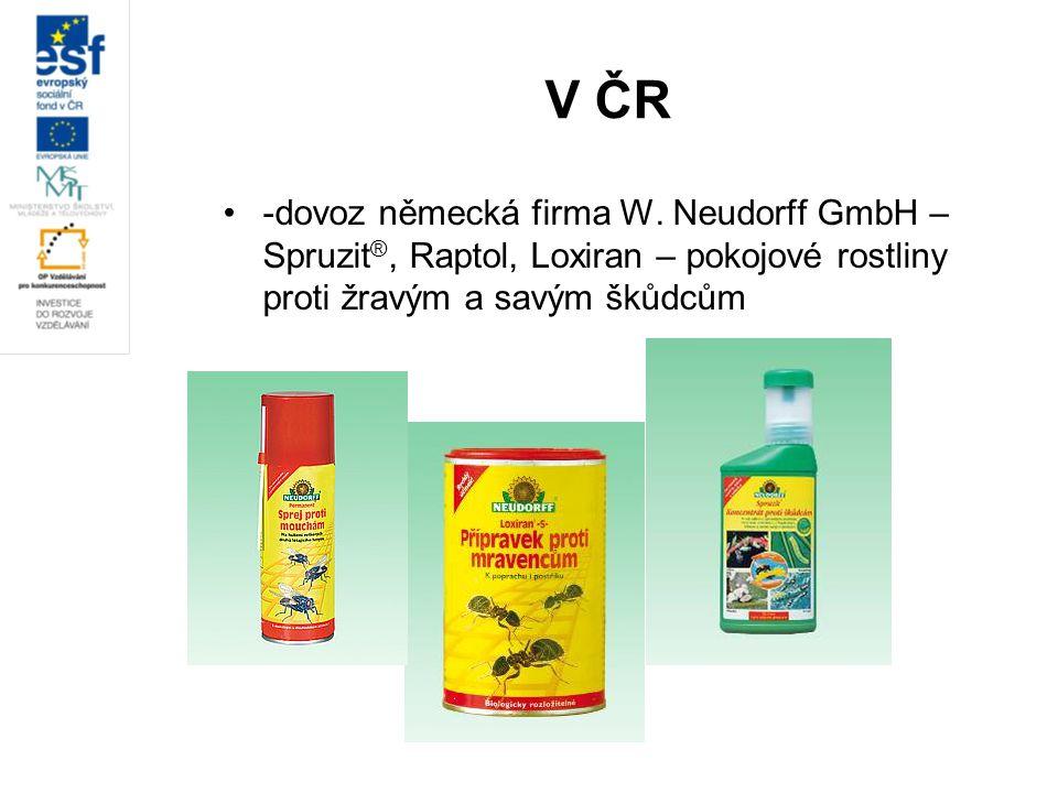 V ČR -dovoz německá firma W. Neudorff GmbH – Spruzit ®, Raptol, Loxiran – pokojové rostliny proti žravým a savým škůdcům
