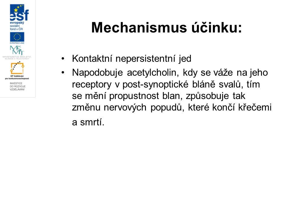 Mechanismus účinku: Kontaktní nepersistentní jed Napodobuje acetylcholin, kdy se váže na jeho receptory v post-synoptické bláně svalů, tím se mění pro