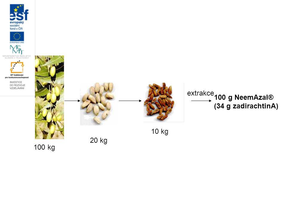 100 kg 20 kg 10 kg extrakce 100 g NeemAzal® (34 g zadirachtinA)
