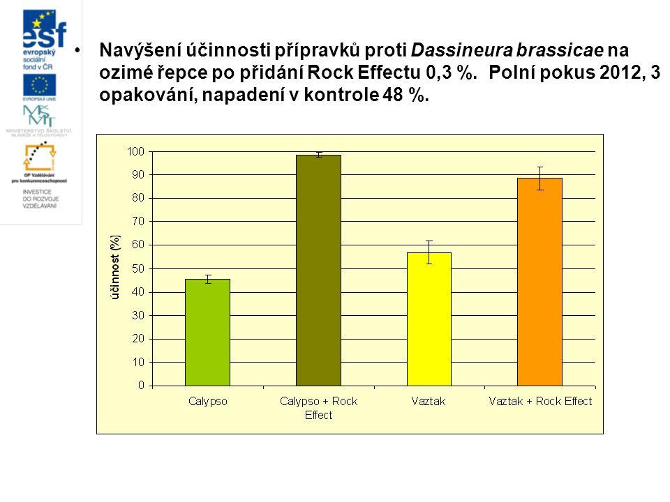 Navýšení účinnosti přípravků proti Dassineura brassicae na ozimé řepce po přidání Rock Effectu 0,3 %. Polní pokus 2012, 3 opakování, napadení v kontro