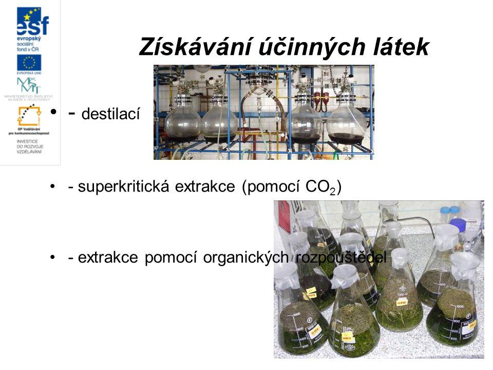 Získávání účinných látek - destilací - superkritická extrakce (pomocí CO 2 ) - extrakce pomocí organických rozpouštědel
