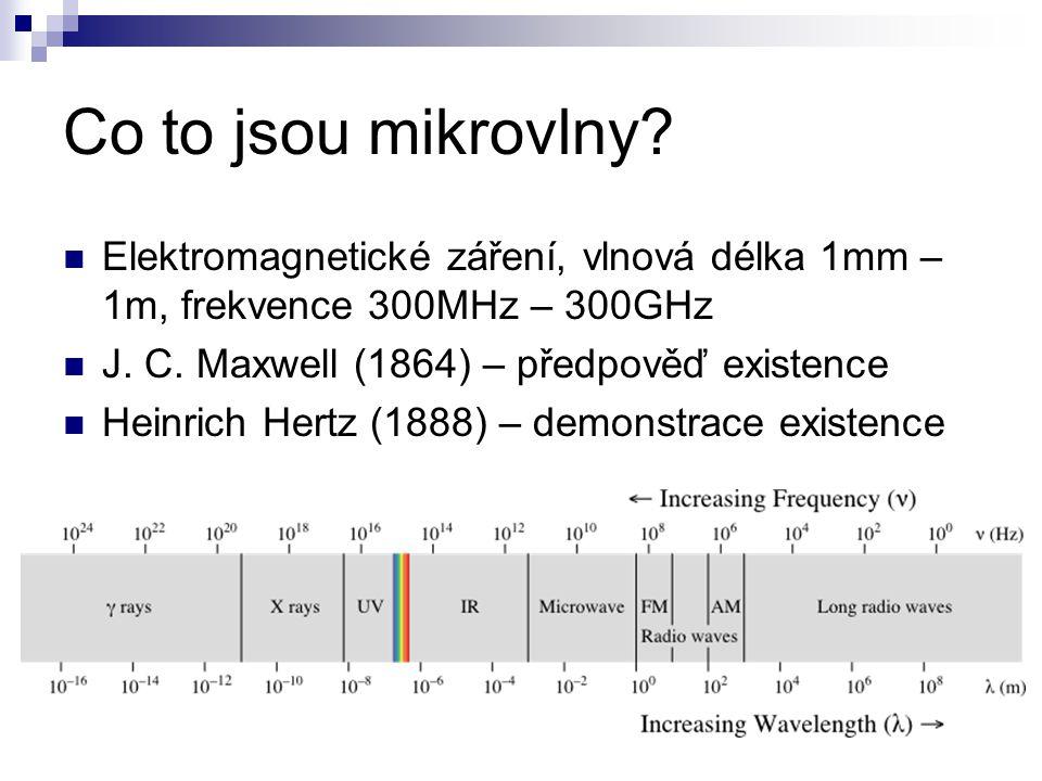 Co to jsou mikrovlny? Elektromagnetické záření, vlnová délka 1mm – 1m, frekvence 300MHz – 300GHz J. C. Maxwell (1864) – předpověď existence Heinrich H