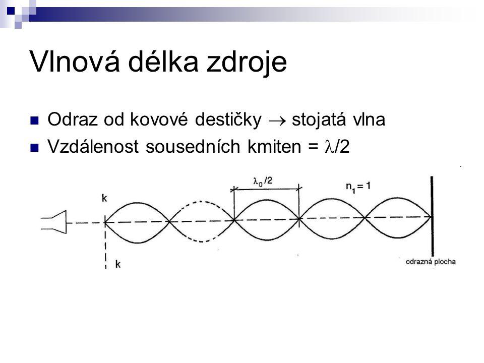 Vlnová délka zdroje Odraz od kovové destičky  stojatá vlna Vzdálenost sousedních kmiten = /2