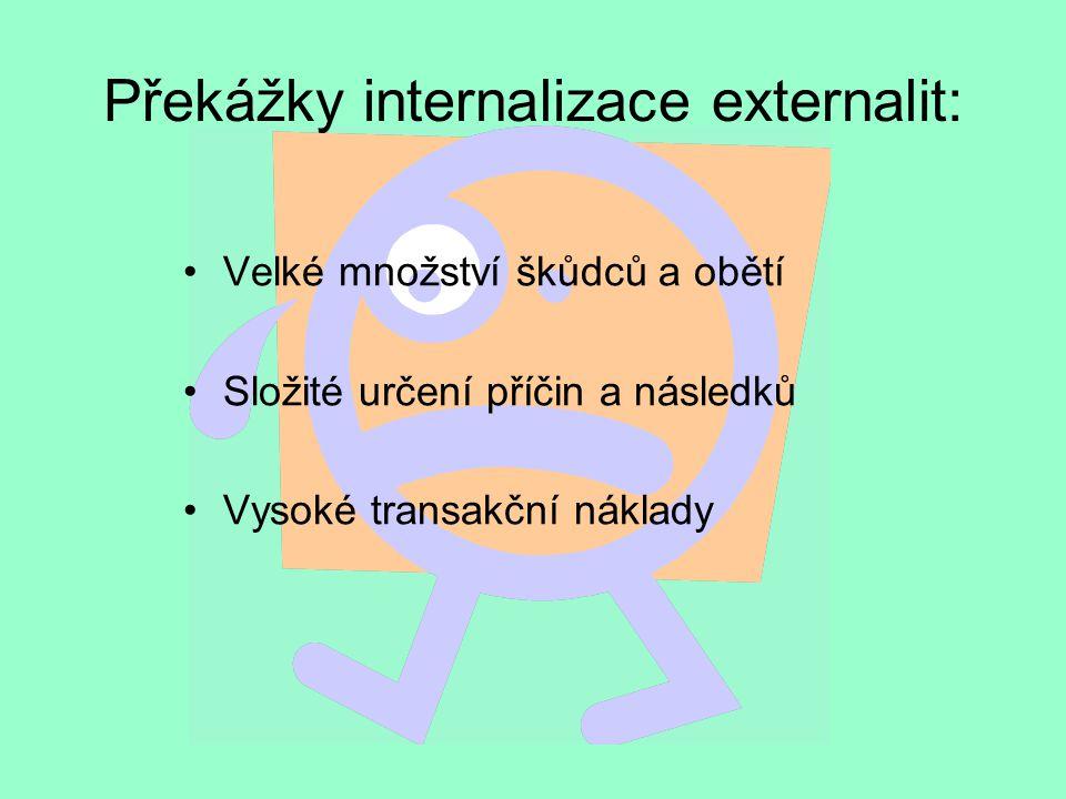 Překážky internalizace externalit: Velké množství škůdců a obětí Složité určení příčin a následků Vysoké transakční náklady