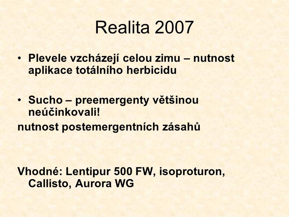 Realita 2007 Plevele vzcházejí celou zimu – nutnost aplikace totálního herbicidu Sucho – preemergenty většinou neúčinkovali! nutnost postemergentních