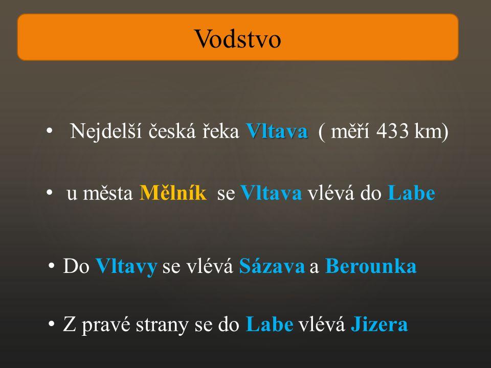 Vltava Nejdelší česká řeka Vltava ( měří 433 km) u města Mělník se Vltava vlévá do Labe Do Vltavy se vlévá Sázava a Berounka Z pravé strany se do Labe vlévá Jizera Vodstvo
