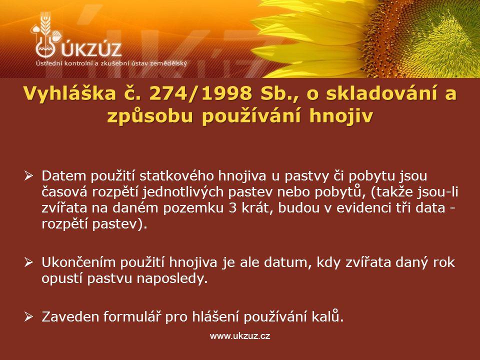 www.ukzuz.cz  Datem použití statkového hnojiva u pastvy či pobytu jsou časová rozpětí jednotlivých pastev nebo pobytů, (takže jsou-li zvířata na daném pozemku 3 krát, budou v evidenci tři data - rozpětí pastev).