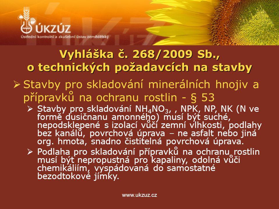 www.ukzuz.cz  Stavby pro skladování minerálních hnojiv a přípravků na ochranu rostlin - § 53  Stavby pro skladování NH 4 NO 3,, NPK, NP, NK (N ve fo