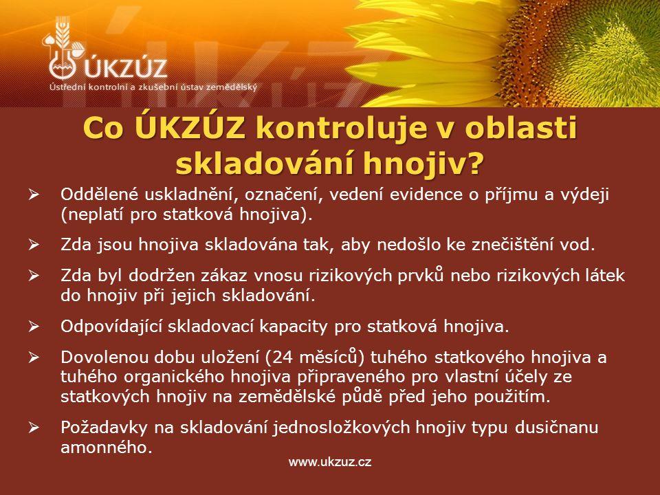 www.ukzuz.cz Co ÚKZÚZ kontroluje v oblasti skladování hnojiv?  Oddělené uskladnění, označení, vedení evidence o příjmu a výdeji (neplatí pro statková