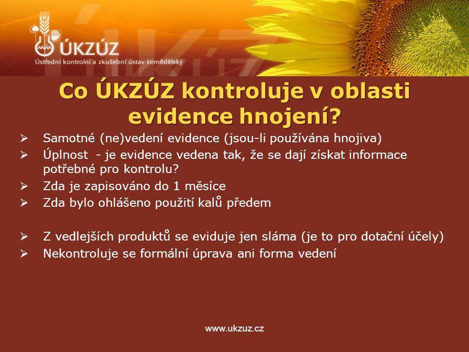 www.ukzuz.cz Co ÚKZÚZ kontroluje v oblasti evidence hnojení?  Samotné (ne)vedení evidence (jsou-li používána hnojiva)  Úplnost - je evidence vedena