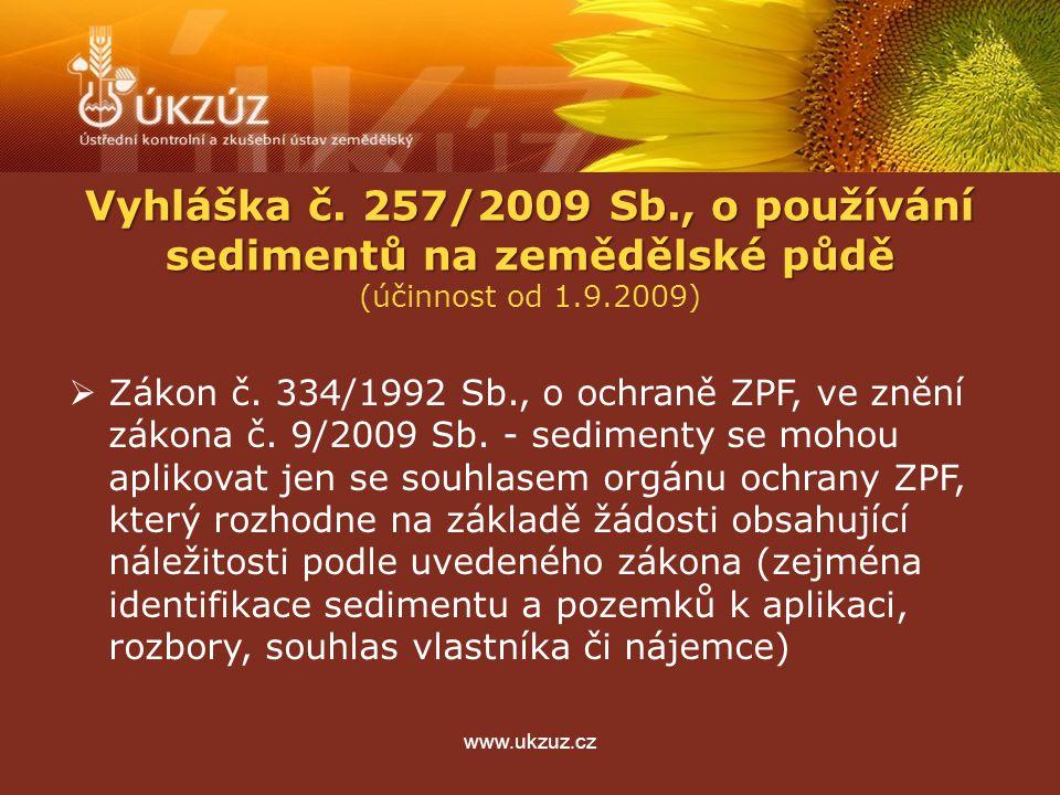 www.ukzuz.cz Vyhláška č. 257/2009 Sb., o používání sedimentů na zemědělské půdě (účinnost od 1.9.2009)  Zákon č. 334/1992 Sb., o ochraně ZPF, ve zněn