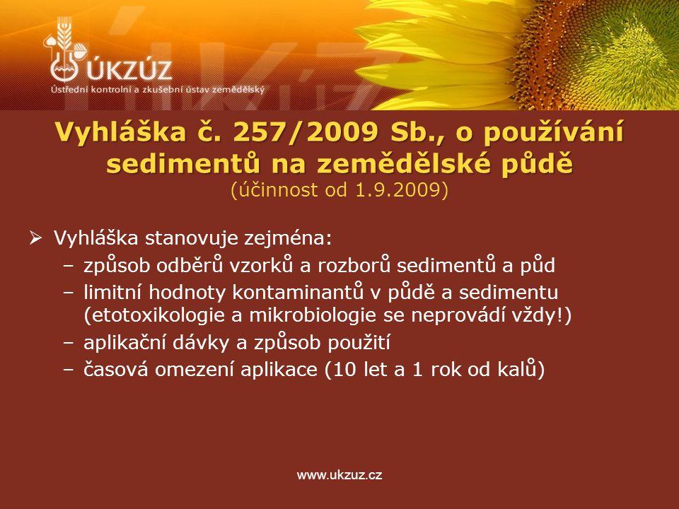 www.ukzuz.cz Vyhláška č. 257/2009 Sb., o používání sedimentů na zemědělské půdě (účinnost od 1.9.2009)  Vyhláška stanovuje zejména: –způsob odběrů vz