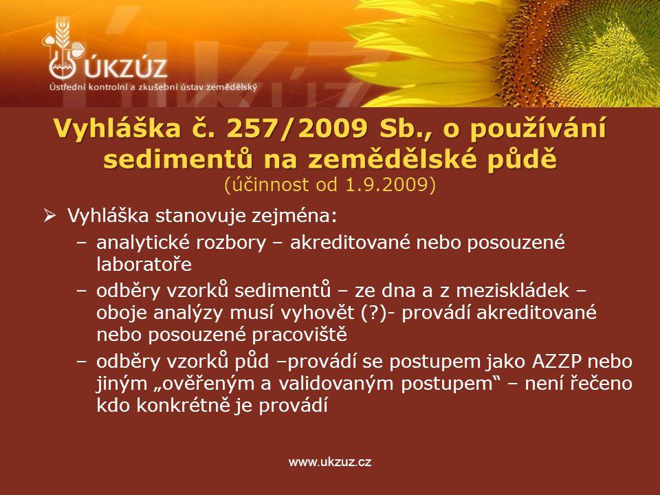 """www.ukzuz.cz  Vyhláška stanovuje zejména: –analytické rozbory – akreditované nebo posouzené laboratoře –odběry vzorků sedimentů – ze dna a z meziskládek – oboje analýzy musí vyhovět ( )- provádí akreditované nebo posouzené pracoviště –odběry vzorků půd –provádí se postupem jako AZZP nebo jiným """"ověřeným a validovaným postupem – není řečeno kdo konkrétně je provádí Vyhláška č."""