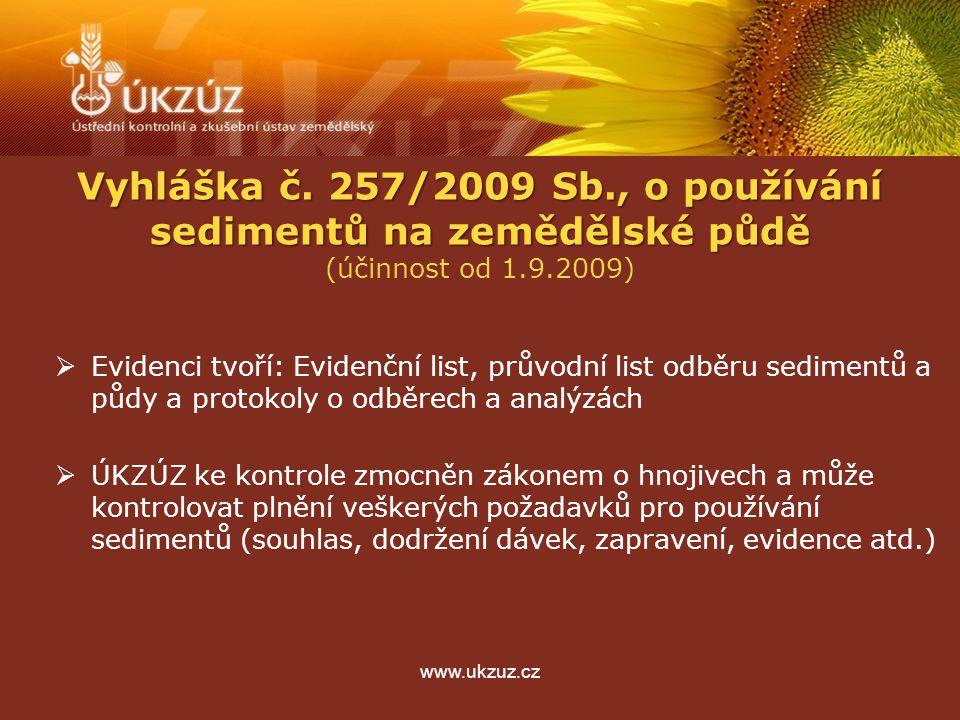 www.ukzuz.cz Vyhláška č. 257/2009 Sb., o používání sedimentů na zemědělské půdě (účinnost od 1.9.2009)  Evidenci tvoří: Evidenční list, průvodní list