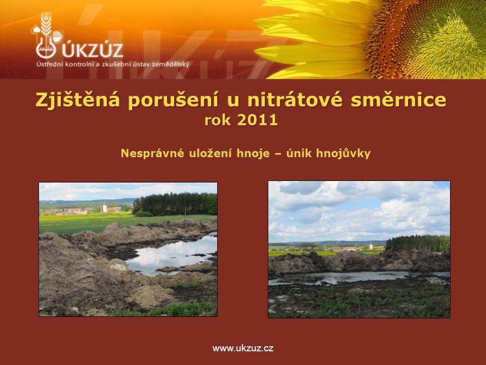 Zjištěná porušení u nitrátové směrnice rok 2011 www.ukzuz.cz Nesprávné uložení hnoje – únik hnojůvky