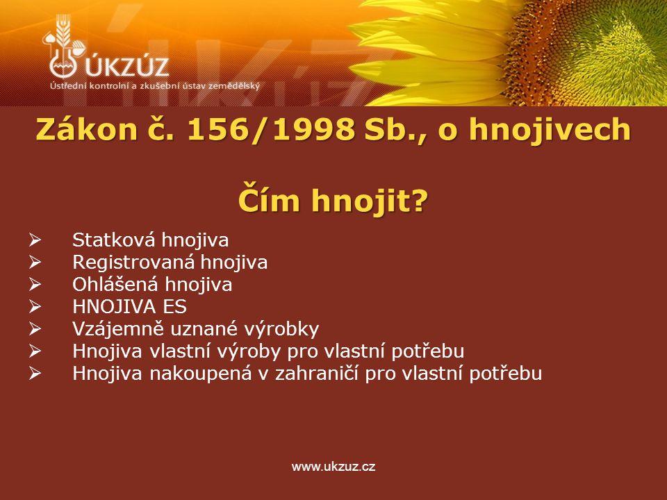 www.ukzuz.cz Ohlášení hnojiv - § 3a  možnost ohlásit hnojivo odpovídající typu uvedenému ve vyhlášce č.