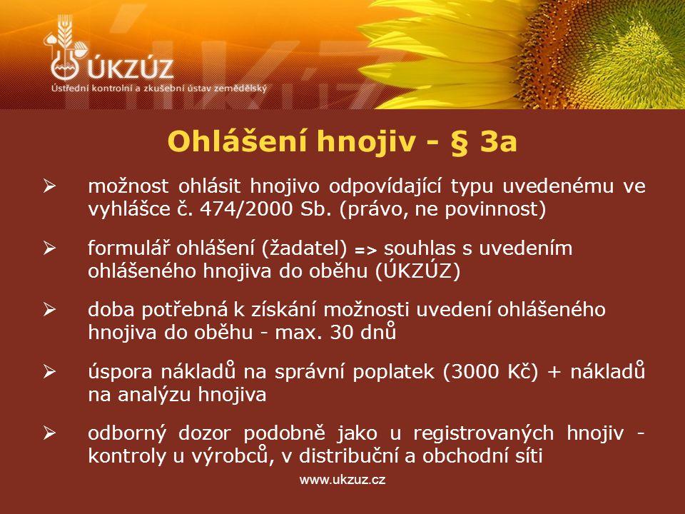 www.ukzuz.cz Ohlášení hnojiv - § 3a  možnost ohlásit hnojivo odpovídající typu uvedenému ve vyhlášce č. 474/2000 Sb. (právo, ne povinnost)  formulář