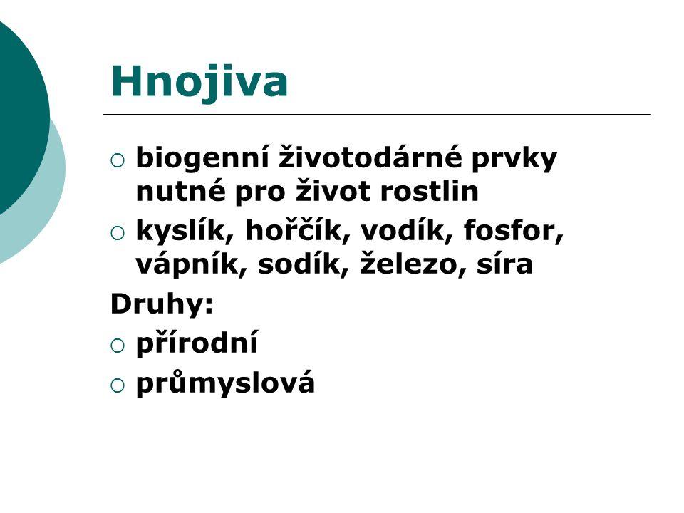 Hnojiva  biogenní životodárné prvky nutné pro život rostlin  kyslík, hořčík, vodík, fosfor, vápník, sodík, železo, síra Druhy:  přírodní  průmyslo