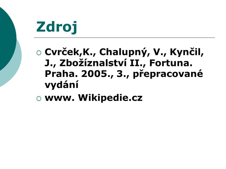 Zdroj  Cvrček,K., Chalupný, V., Kynčil, J., Zbožíznalství II., Fortuna. Praha. 2005., 3., přepracované vydání  www. Wikipedie.cz
